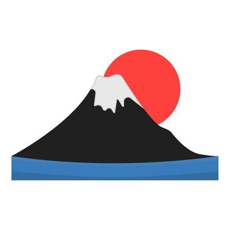 Mount Fuji icon in cartoon style isolated on white background. Japan symbol vector illustration.