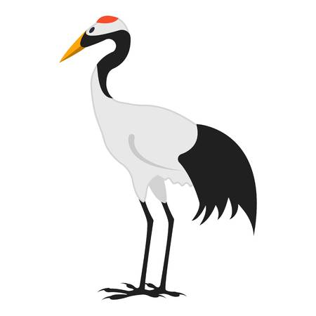 crowned: Red-crowned crane icon in cartoon style isolated on white background. Japan symbol vector illustration.