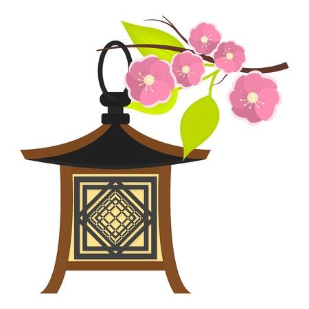 Japanese lantern icon in cartoon style isolated on white background. Japan symbol vector illustration. Illustration