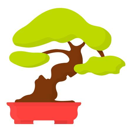 asian gardening: Bonsai icon in cartoon style isolated on white background. Japan symbol vector illustration. Illustration