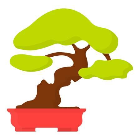 Bonsai icon in cartoon style isolated on white background. Japan symbol vector illustration. Illustration
