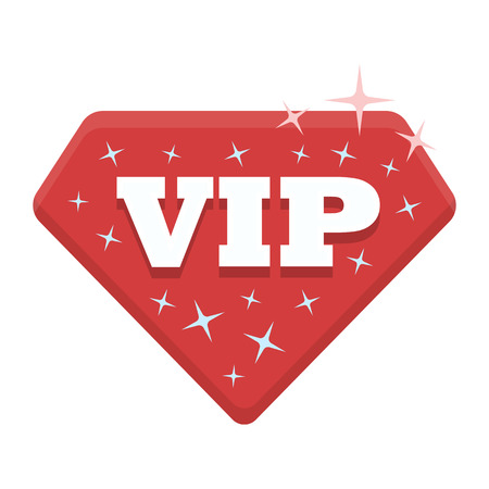 VIP icon in cartoon style isolated on white background. Label symbol vector illustration. Illustration