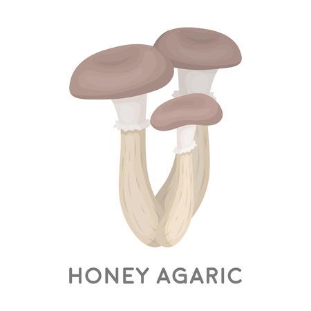 agaric: Honey agaric icon in cartoon style isolated on white background. Mushroom symbol vector illustration. Illustration