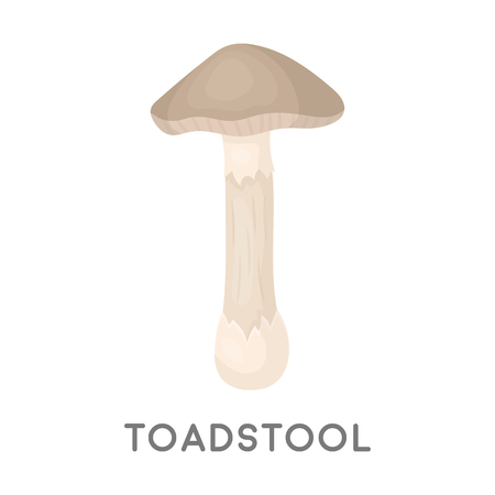 a toadstool: Toadstool icon in cartoon style isolated on white background. Mushroom symbol vector illustration.