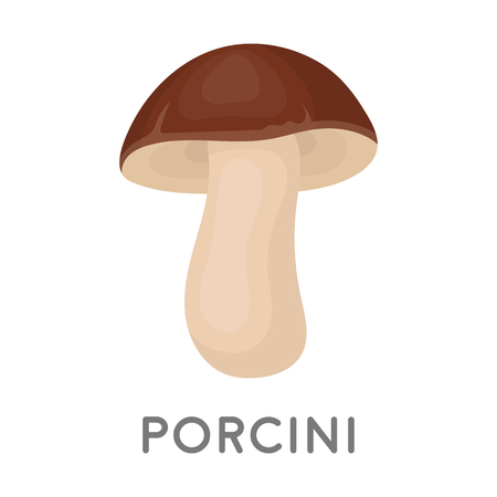 cep: Porcini icon in cartoon style isolated on white background. Mushroom symbol vector illustration. Illustration