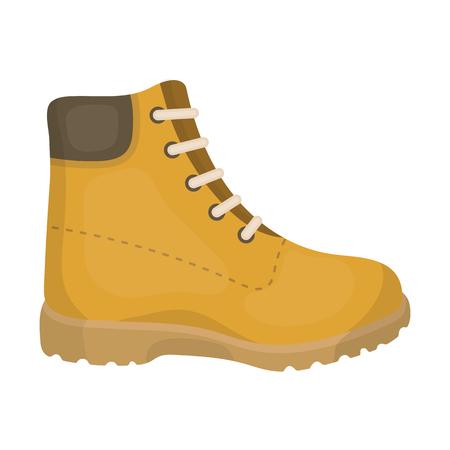 Senderismo icono de botas de estilo de dibujos animados aislado en el fondo blanco. Zapatos ilustración vectorial símbolo.