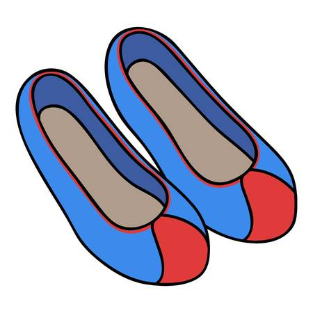korean traditional: Korean traditional shoes icon in cartoon style isolated on white background. South Korea symbol vector illustration.