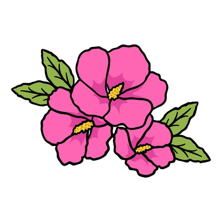 Rose of sharon icon in cartoon style isolated on white background. South Korea symbol vector illustration. Vectores