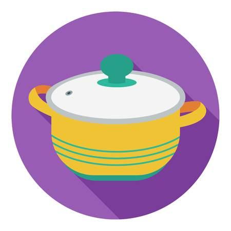 stockpot: Stockpot icon in flat style isolated on white background. Kitchen symbol vector illustration. Illustration