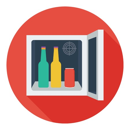 mini bar: Mini-bar icon in flat style isolated on white background. Kitchen symbol vector illustration.