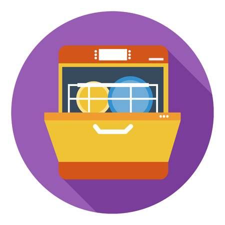 Dishwasher icon in flat style isolated on white background. Kitchen symbol vector illustration. Vektoros illusztráció