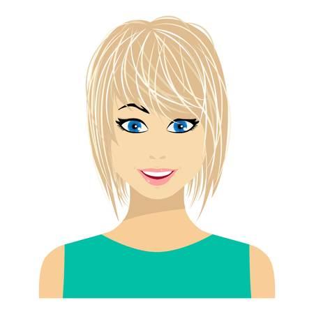 Blonde icône dans un style plat isolé sur fond blanc. Femme symbole illustration vectorielle. Vecteurs
