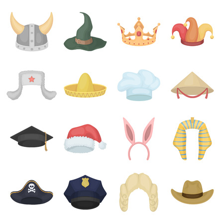 Hats set icons in cartoon style. Big collection of hats vector symbol.