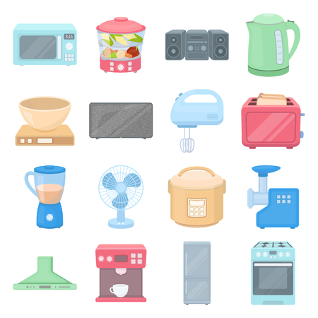 household appliance: Household appliance set icons in cartoon style. Big collection of household appliance vector symbol.