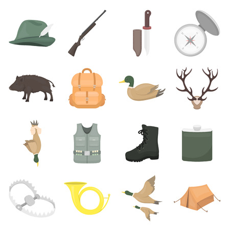 hip flask: Hunting set icons in cartoon style. Big collection of hunting vector symbol.