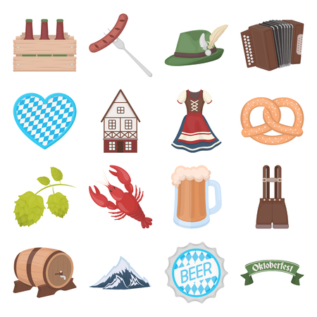 lederhosen: Oktoberfest set icons in cartoon style. Big collection of Oktoberfest vector symbol.