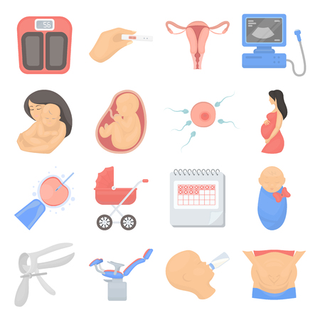 speculum: Pregnancy set icons in cartoon style. Big collection of pregnancy vector symbol. Illustration
