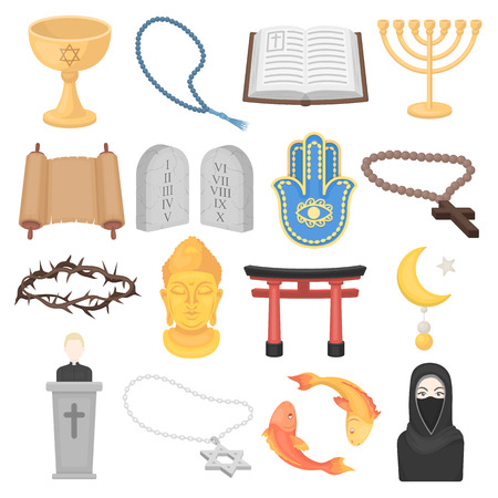 niqab: Religion set icons in cartoon style. Big collection of religion vector symbol.