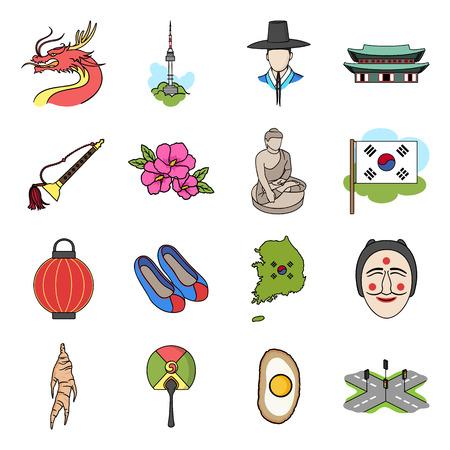 gat: South Korea set icons in cartoon style. Big collection of South Korea vector symbol.