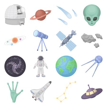 Espace défini icônes dans le style de bande dessinée. Big collection de symbole de vecteur d'espace. Vecteurs