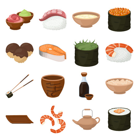 tetsubin: Sushi set icons in cartoon style. Big collection of sushi vector symbol.