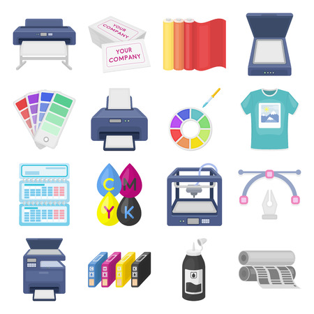 multifunction printer: Typography set icons in cartoon style. Big collection of typography vector symbol.