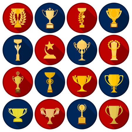 tourney: Winner cup set icons in flat style. Big collection of winner cup vector symbol. Illustration