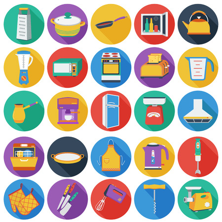 minibar: Kitchen set icons in flat style. Big collection of kitchen vector symbol. Illustration