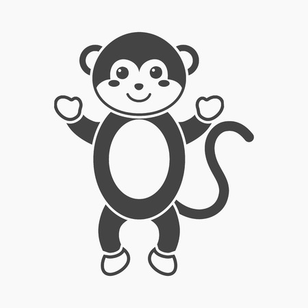 Monkey black icon. Illustration for web and mobile.