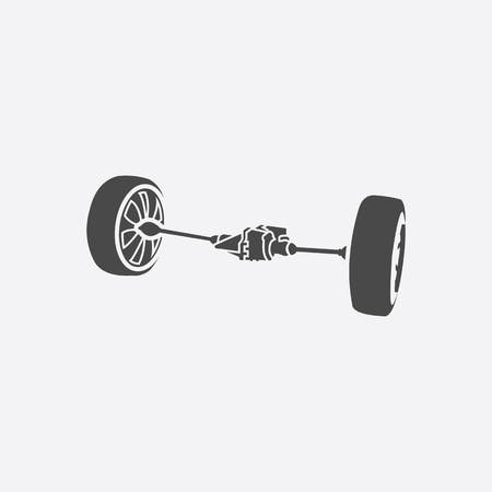 shocks: Front car suspension icon style. Single silhouette auto parts icon from the big car black - stock rastr Stock Photo