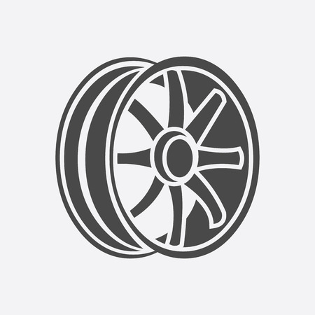 alloy wheel: Car rims icon style. Single silhouette auto parts icon from the big car black - stock rastr