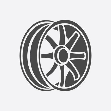 Car rims icon style. Single silhouette auto parts icon from the big car black - stock rastr