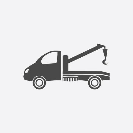 tow car: Tow car icon black. Single car repair parts symbol.