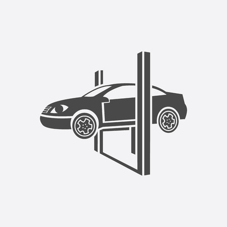 repairing: Repairing a car lifted on auto hoist icon black. Single car repair symbol. Stock Photo