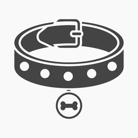 by the collar: Dog collar rastr illustration icon in black design Stock Photo