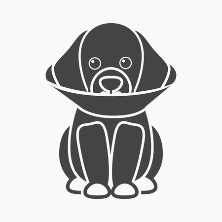 cold compress: Sick dog rastr illustration icon in black design Stock Photo