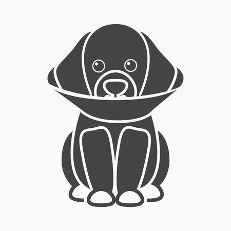 Sick dog rastr illustration icon in black design Stock Photo