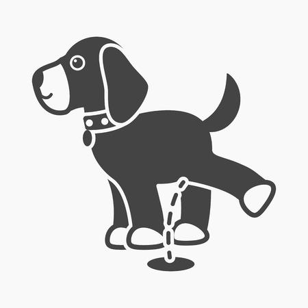 Pissing dog rastr illustration icon in black design