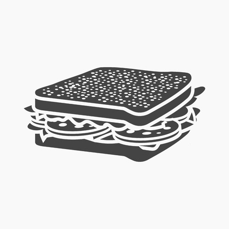 eatable: Sandwich rastr illustration icon in simple design