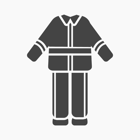 firefighter uniform: Firefighter uniform icon black style. Single silhouette fire equipment icon from the big fire Department simple.