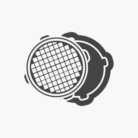 sewer: Open metal manhole icon black. One icon of a large plumbing black.