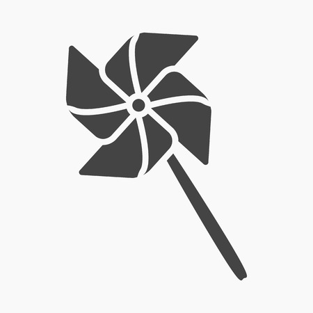 windmill toy: Toy windmill black icon. Illustration for web and mobile.
