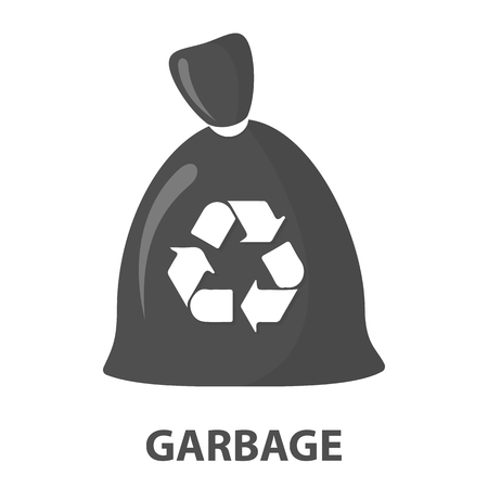 garbage bag: Garbage bag cartoon icon. Illustration for web and mobile. Stock Photo