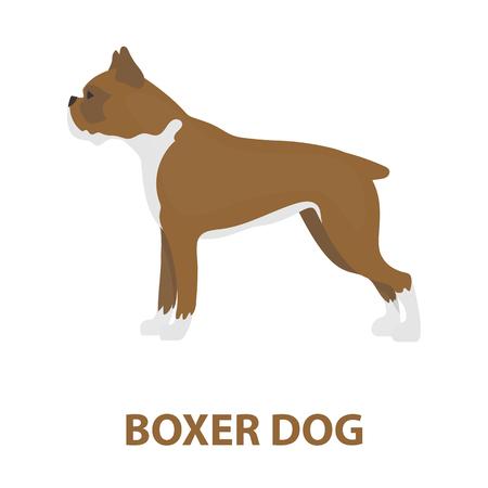 boxer dog: Boxer dog rastr illustration icon in cartoon design
