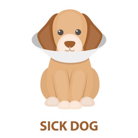 Sick dog rastr illustration icon in cartoon design Stock Photo