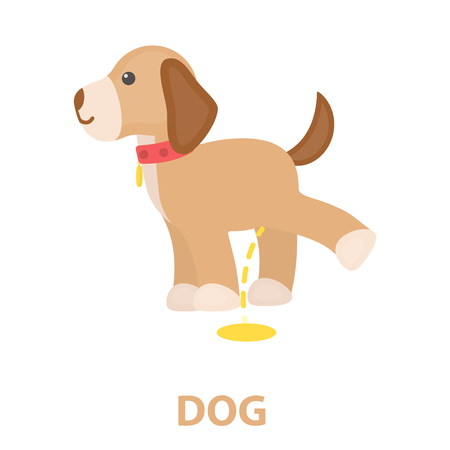 Pissing dog rastr illustration icon in cartoon design
