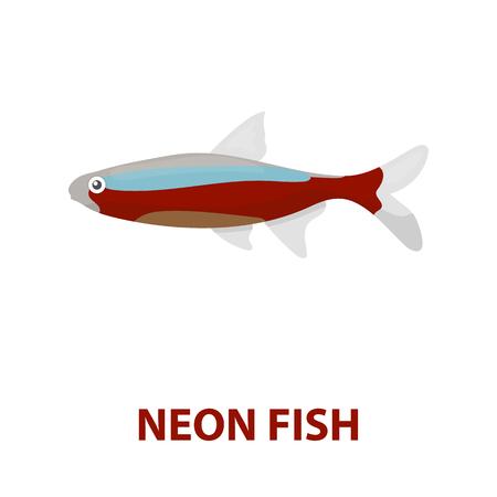 neon fish: Neon fish icon cartoon. Singe aquarium fish icon from the sea,ocean life cartoon. Stock Photo