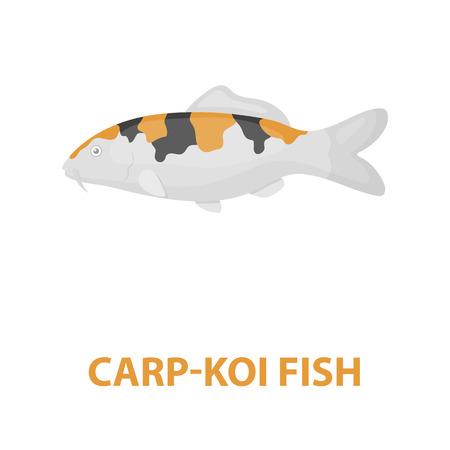 hokusai: Carp-koi fish icon cartoon. Singe aquarium fish icon from the sea,ocean life cartoon.