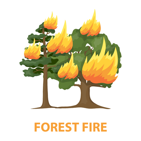 forest fire: Forest fire rastr illustration icon in cartoon design Stock Photo