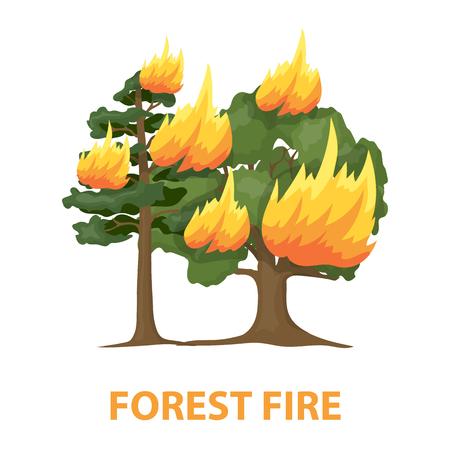 charred: Forest fire rastr illustration icon in cartoon design Stock Photo